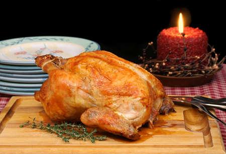 Fresh Roasted Chicken or Turkey in Evening Setting  Stok Fotoğraf