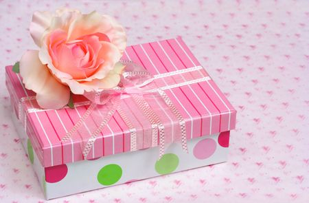 Pretty Rose and Gift Box with Copy Space photo