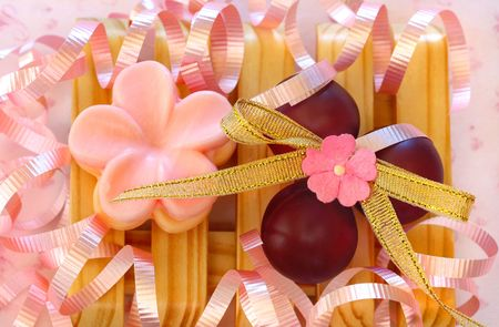 Macro of Gift Soaps and Bath Beads suitable for a birthday or Mothers Day gift photo