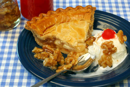alamode: Apple Pie ala-mode with a side of ice cream and walnuts