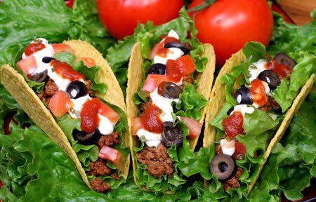 Three Tacos on Greens Stok Fotoğraf
