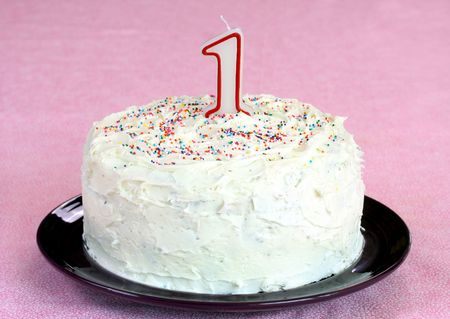 Birthday Cake with #1 Candle Stock Photo