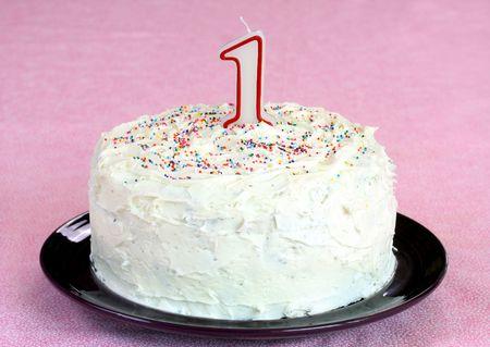 gateau bougies: G�teau d'anniversaire avec # 1 bougie