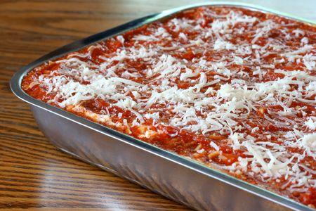 Freshly made uncooked lasagna in pan Stok Fotoğraf