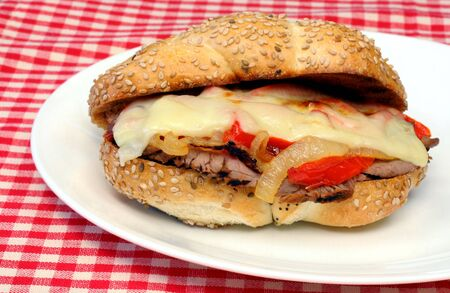Steak Sandwich with Melted Cheese and Peppers on Roll Stock Photo - 3172792
