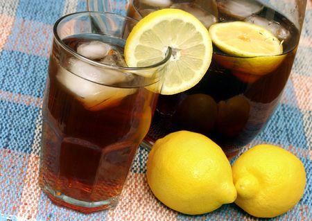 Ice Tea with Pitcher and Lemons on Slant photo
