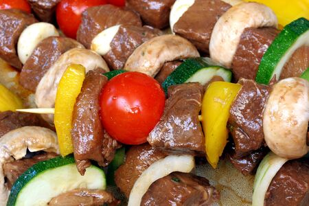 Assorted meat and vegetable on skewers Stock Photo - 3208129