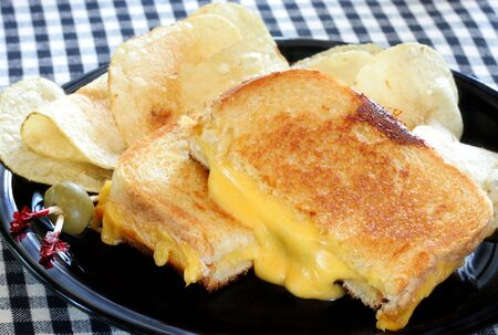 Cut and Melting Grilled Cheese Sandwich and Chips