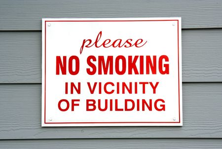 vicinity: No Smoking Sign on Building Stock Photo