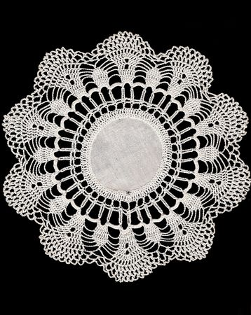 doiley: Vintage Crochet Doiley Isolated on Black