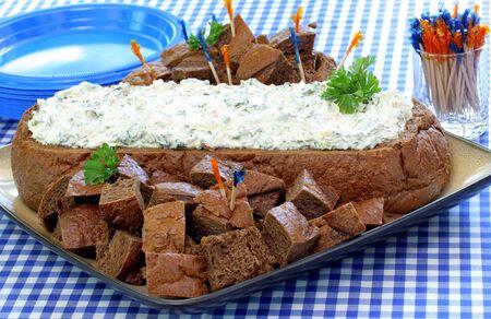 pumpernickel: Pumpernickel Bread Loaf Stuffed with Spinach Dip