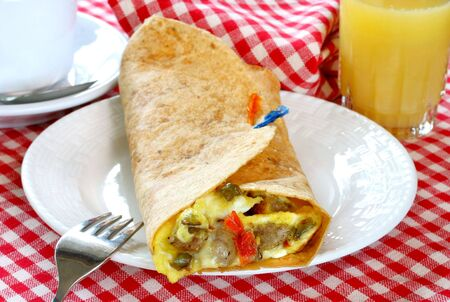 Breakfast Burrito with Eggs, Sausage and Peppers Stok Fotoğraf
