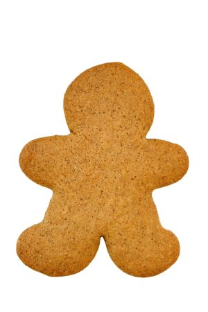 Undecorated Gingerbread Man Cookie on White Imagens