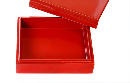 to lacquer: Empty Red Lacquer Box on White