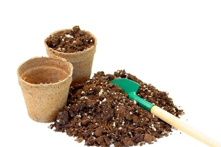 Empty peat pots and soil ready for your seedlings Reklamní fotografie