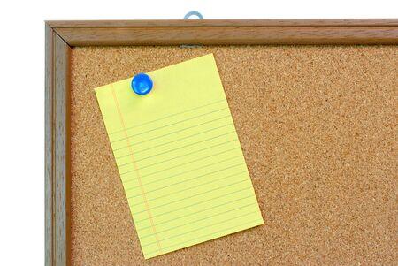 Blank Note paper on Bulletin Cork Board photo