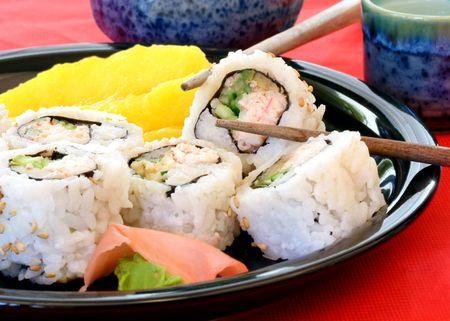 saki: Sushi with fresh mango, ginger, wasabi and saki.