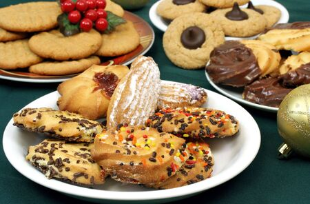 Four plates of assorted holiday cookies. Stock Photo - 3875695