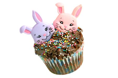 Two bunnies top a chocolate cupcake which is isolated on white and appears to be flying through the air.  Copy space available.  Festive Easter Image photo