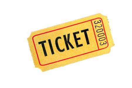 raffle: One yellow ticket on a white background, close up.