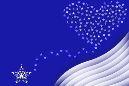 snowbank: Large evening star representing the Christmas star sweeping up to a heart made of stars over a snowy bank.  Concept of Love and Peace for the Holiday Season.