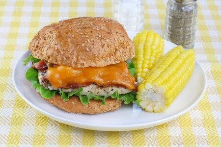 A grilled chicken , cheddar cheese and bacon sandwich on a sesame roll with a side of corn on the cob. Stock Photo - 5292364