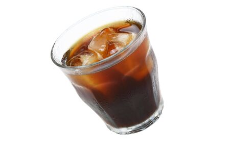 One wet glass of ice coffee isolated on white with copy space. Stok Fotoğraf