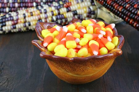 One leaf shaped bowl of colorful candy corn sitting in front of Fall Indian corn. photo