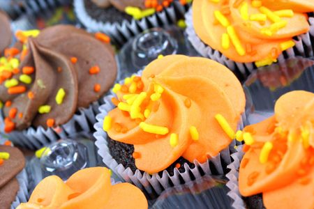 Assorted autumn decorated cupcakes in a bakery tray.  Selective focus macro image. photo