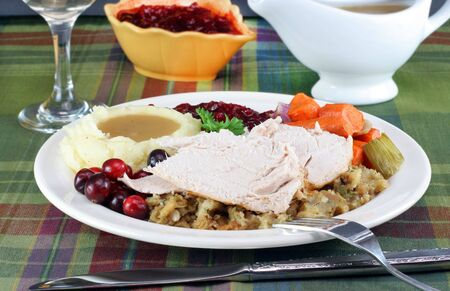 Sliced turkey, stuffing, potatoes with gravy, cranberry sauce and roasted vegetables.