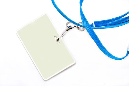 lanyard: One plastic name tag on a blue lanyard.  Background is white with copy space on name tag as well as on the background.