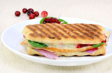 One fresh panini of turkey, spinach, vidalia onion, melted cheese and homemade cranberry sauce. photo