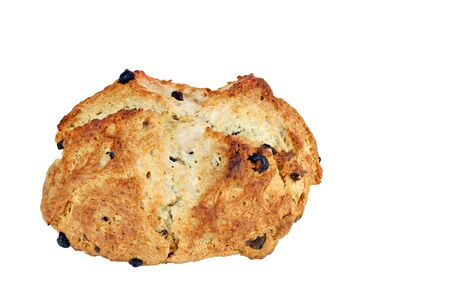 bread soda: One freshly baked loaf of Irish Soda Bread on a white background with copy space. Stock Photo