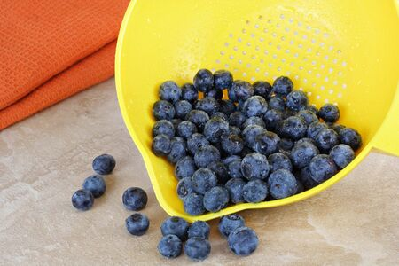 Fresh wet blueberries tumbling from a yellow strainer onto a counter top. Stock Photo - 6576223