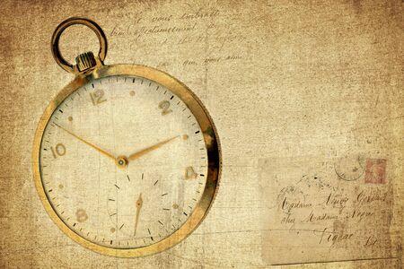old envelope: A vintage pocket watch on a grunge, textured and vintage, background with torn envelopeand script.