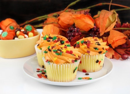 Beautiful decorated fall cupcakes against a dark wooden wall and colorful autumn leaves. photo