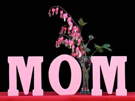 The word MOM isolated on black with a vase of beautiful bleeding hearts.  Perfect for Mothers Day or Moms birthday. photo
