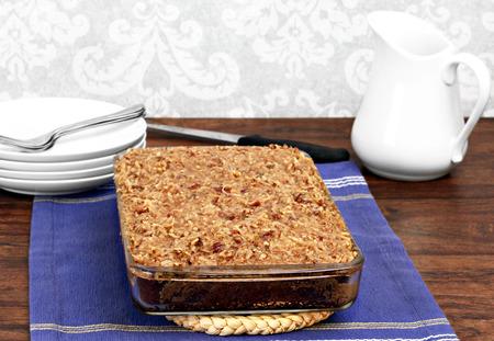mardigras: Full cajun cake with praline topping   Traditional mardi-gras cake  Stock Photo