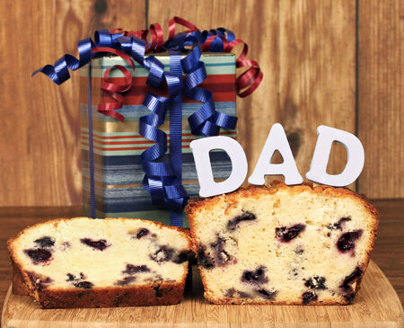 Lemon blueberry poundcake and a gift for dad on his special day  photo