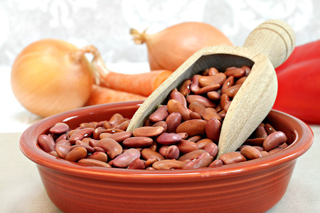 Raw kidney beans with a wooden scoop in a bowl, selective focus macro with copy space. Zdjęcie Seryjne