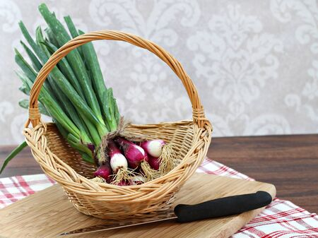 close up of onions in a basket: Fresh spring onions in a basket with copy space. Stock Photo