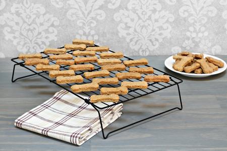 treats: Sanos, galletas para perros caseros que se refrescan en un estante de alambre. el enfoque selectivo en cookies de primer plano, con copia espacio.
