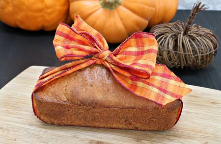 pound cake: One generic pound cake wrapped in a fall ribbon - idea for a hostess gift.
