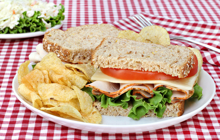 multi grain sandwich: Healthy turkey, swiss, lettuce and tomato sandwich on wholesome multi grain bread.