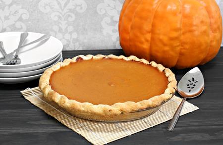 One whole homemade pumpkin pie