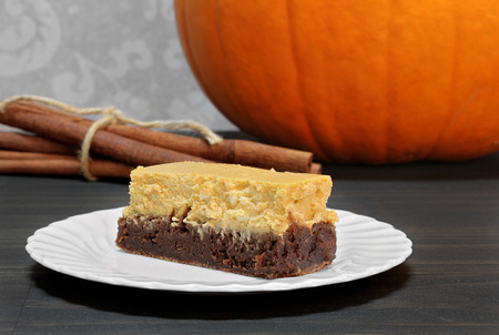 Macro image of a pumpkin brownie cheesecake bar.  Great dessert for Autumn festivities. Stock Photo