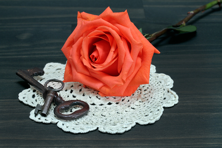 A beautiful orange rose resting on an antique doilie, next to vintage keys.  Macro. Stok Fotoğraf