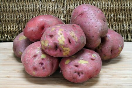 A stack of just picked red potatoes in their natural condition.