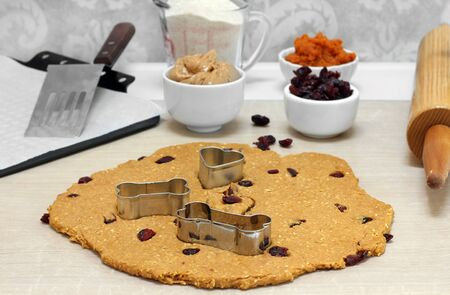 Table set up for baking peanut butter, oat and cranberry dog cookies.  Image includes rolled dough, rolling pin, cookie sheet, spatula and ingredients. Banco de Imagens