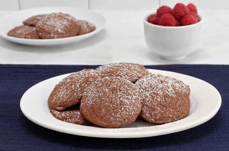 Chocolate cookies sprinkled with powdered sugar.  Raspberries in the background.  Concept of after school snack.